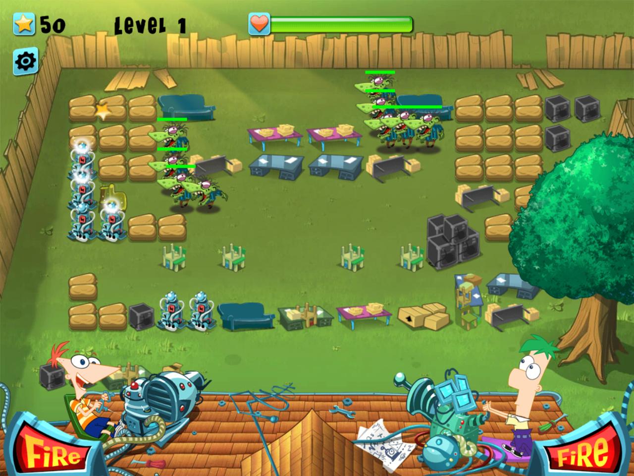 Phineas and Ferb Backyard Defense Game Play Screenshot.