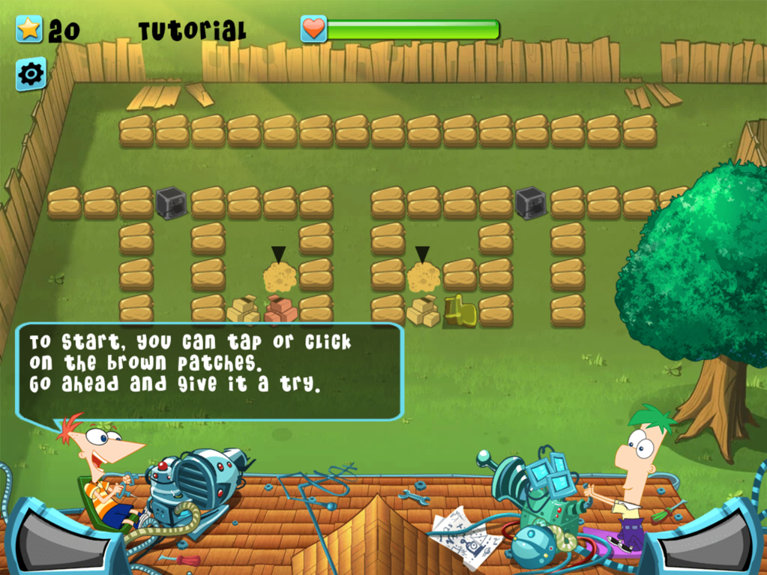 Phineas and Ferb Backyard Defense Game How To Play Screenshot.