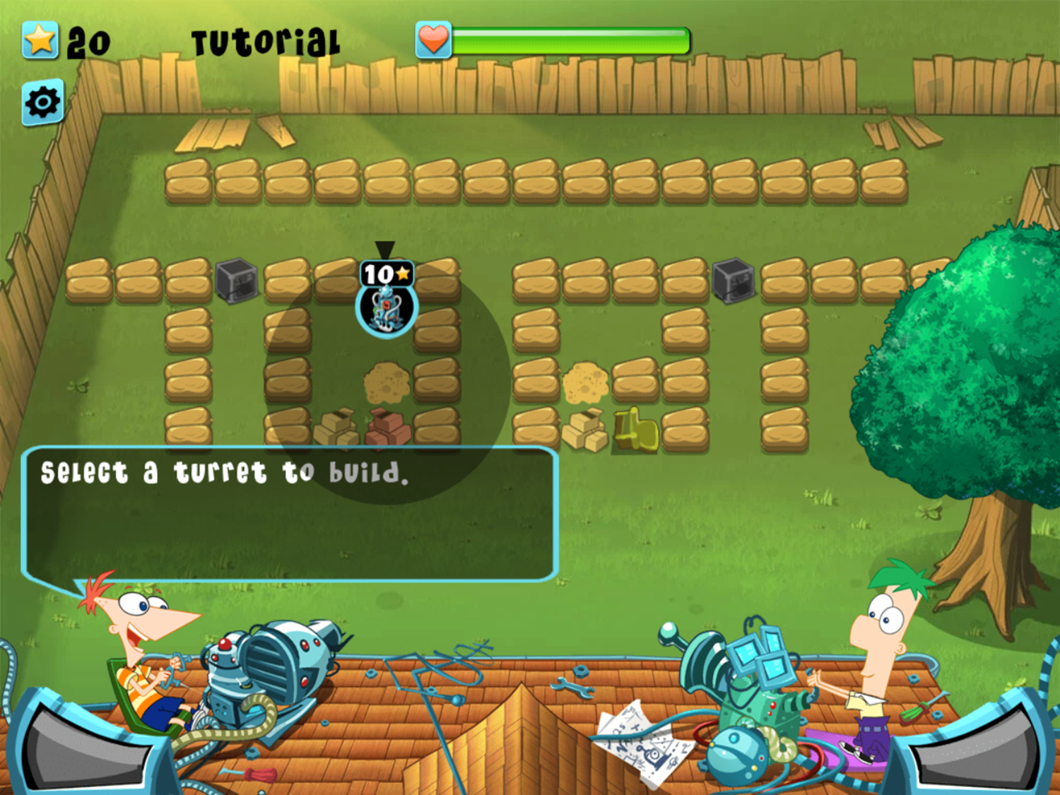 Phineas and Ferb Backyard Defense Game Instructions Screenshot.
