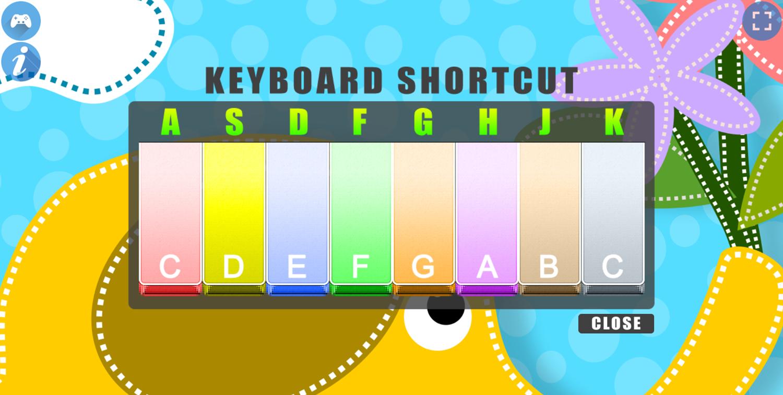 Piano for Kids Animal Sounds Keyboard Shortcut Screenshot.