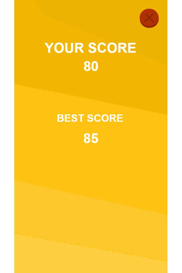 Piano Tiles Game Over Score Screenshot.