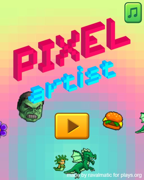 Pixel Artist Game Welcome Screen Screenshot.