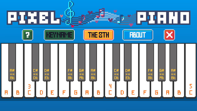 Pixel Piano Game 8th Notes Screenshot.