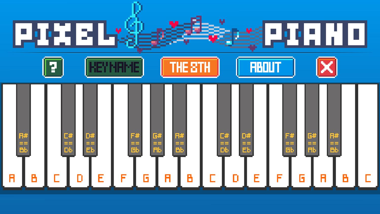 Pixel Piano Game Note Name Screenshot.