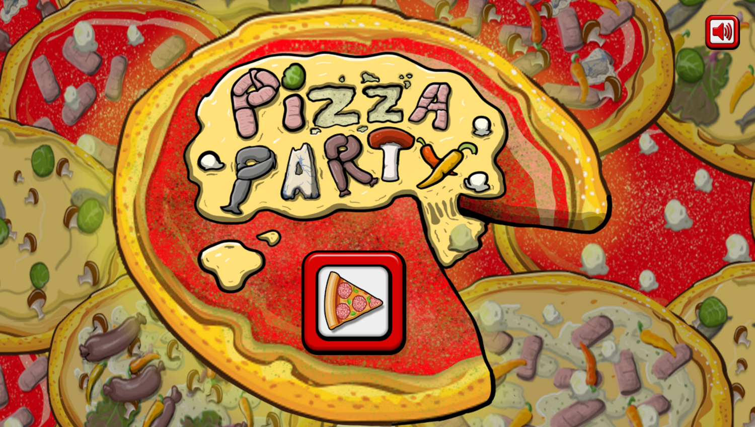 Pizza Party Game Welcome Screen Screenshot.