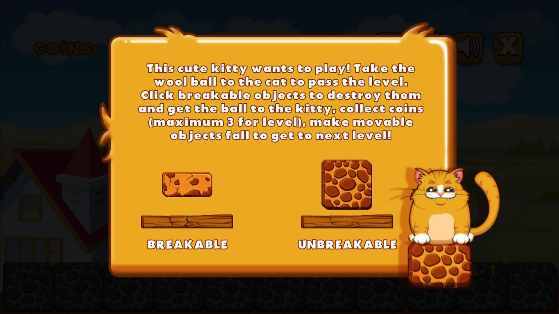 Playful Kitty Game Instructions Screenshot.