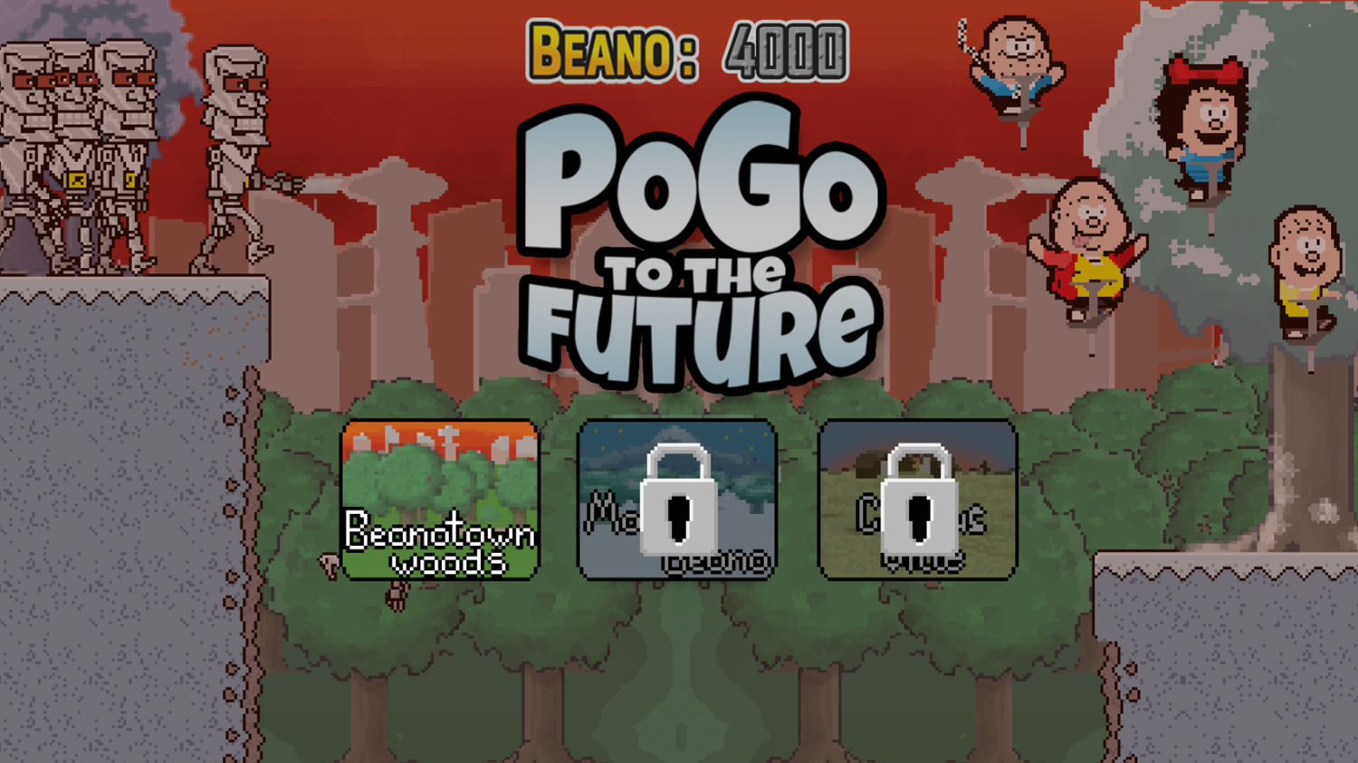 Pogo to the Future Game Stage Select Screenshot.