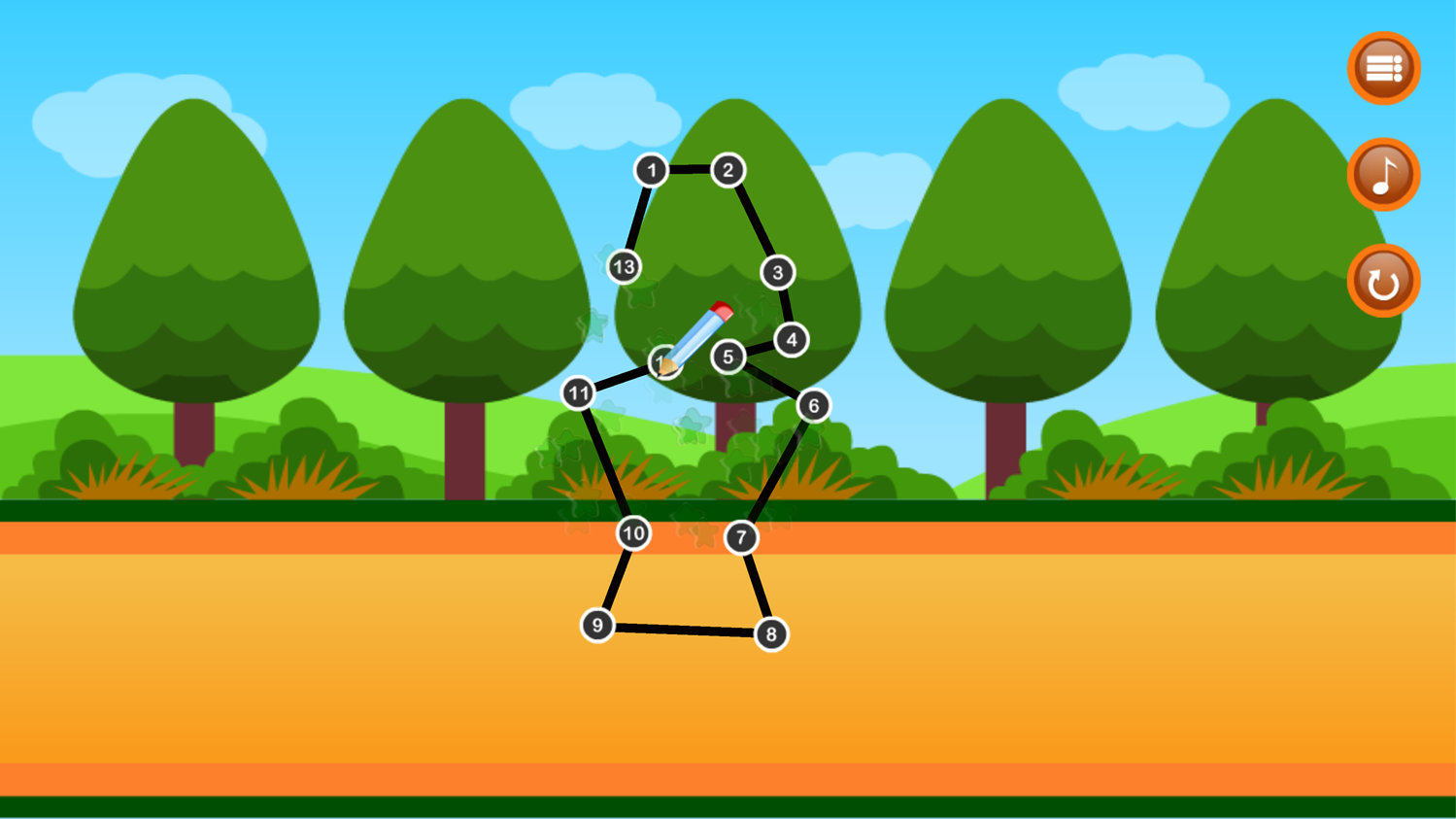 Point to Point Happy Animals Game Screenshot.