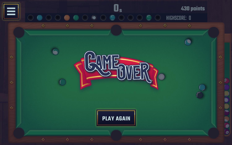 Pool Club Game Over Screenshot.