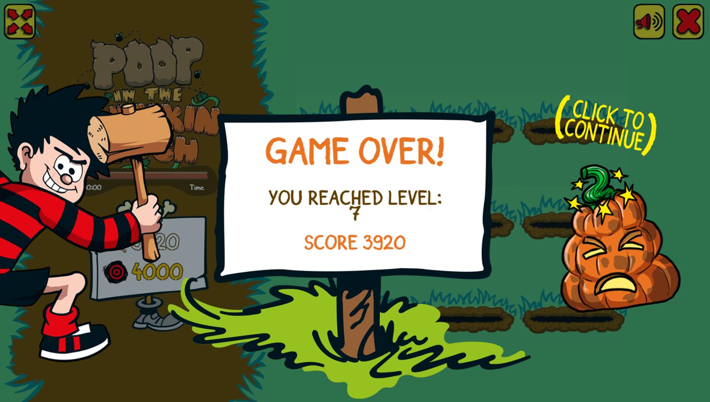 Poop in the Pumpkin Patch Game Over Screenshot.