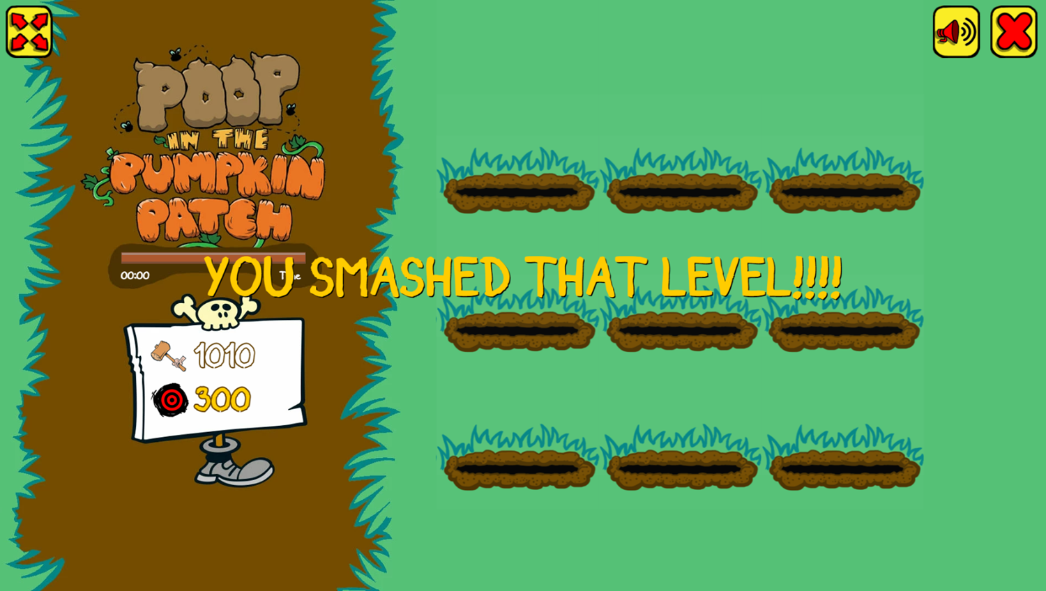 Poop in the Pumpkin Patch Game Level Complete Screenshot.