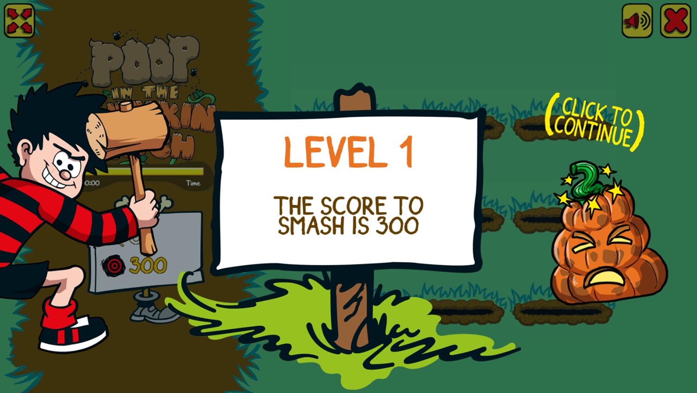 Poop in the Pumpkin Patch Game Level Start Screenshot.