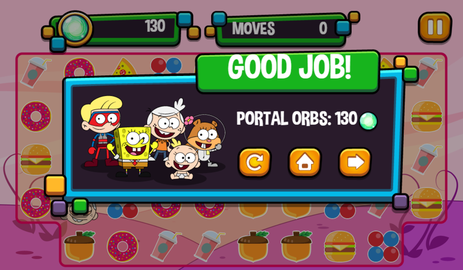 Portal Chase Game Snack Match Complete Screenshot.