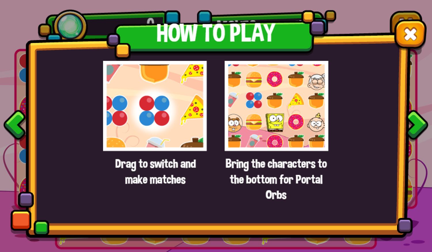 Portal Chase Game Snack Match How To Play Screenshot.