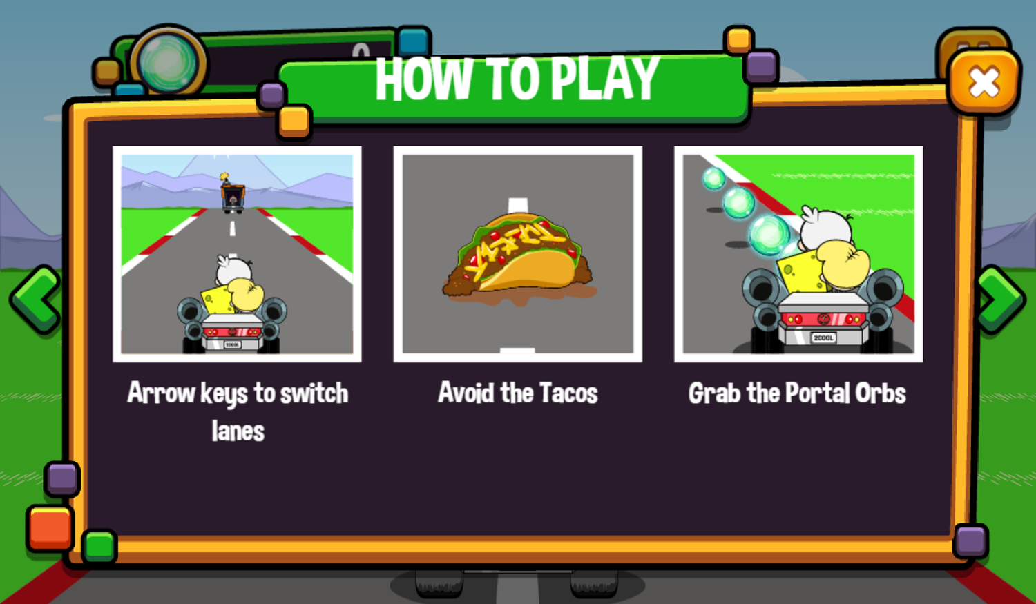 Portal Chase Game Taco Dodge How To Play Screenshot.