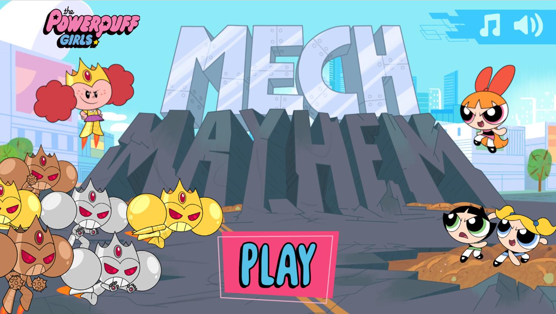 Powerpuff Girls Mech Mayhem Welcome Screen Screenshot.