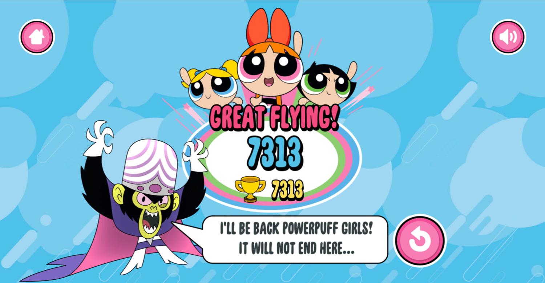 Powerpuff Girls Trail Blazer Game Over Screenshot.