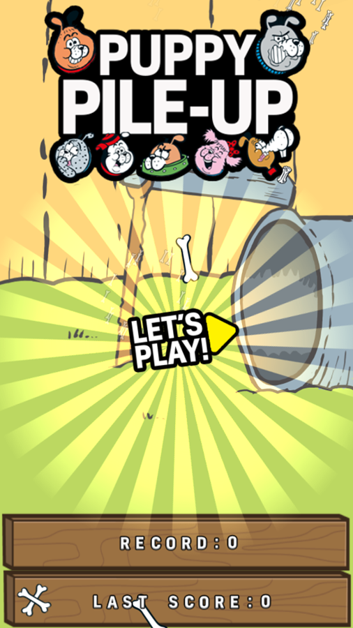 Puppy Pile Up Game Welcome Screen Screenshot.