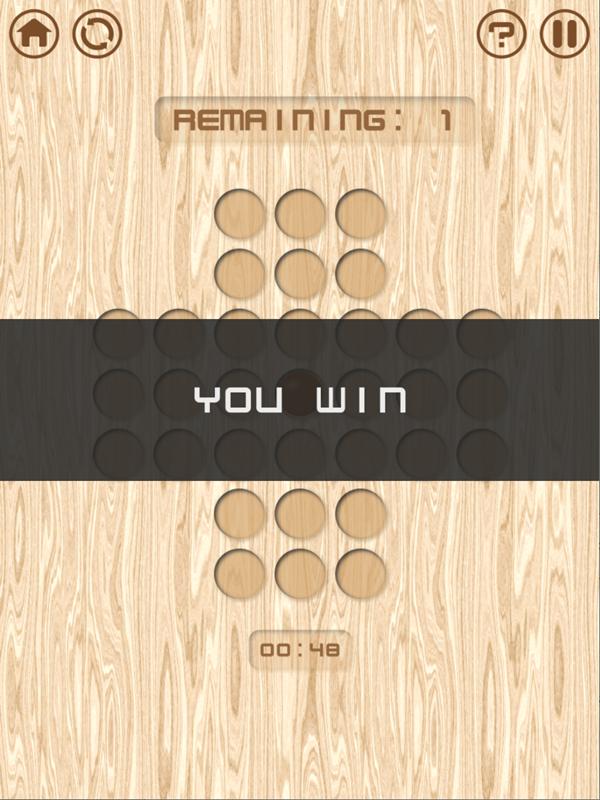 Resta Um Peg Solitaire Game Won Screenshot.