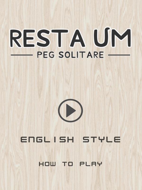 Resta Um Peg Solitaire Welcome Screen Screenshot.