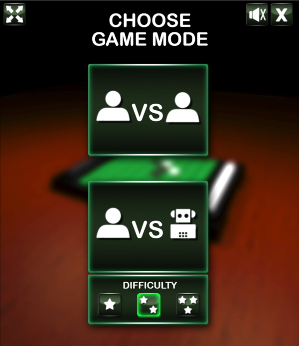 Reversi Game Mode Select Screenshot.