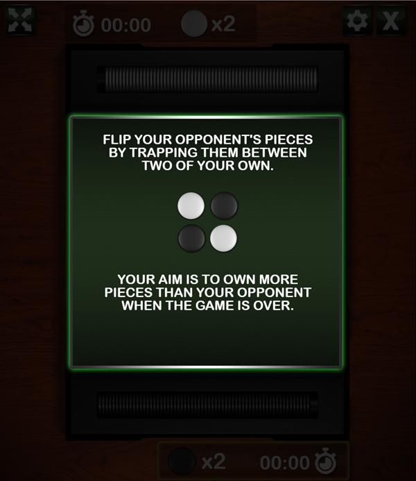 Reversi Game Goals Screenshot.