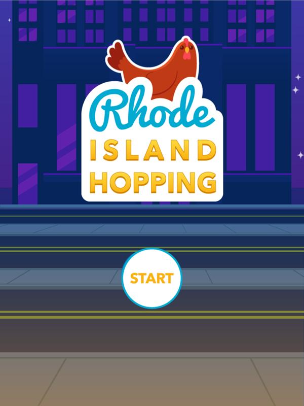 Rhode Island Hopping Game Welcome Screen Screenshot.