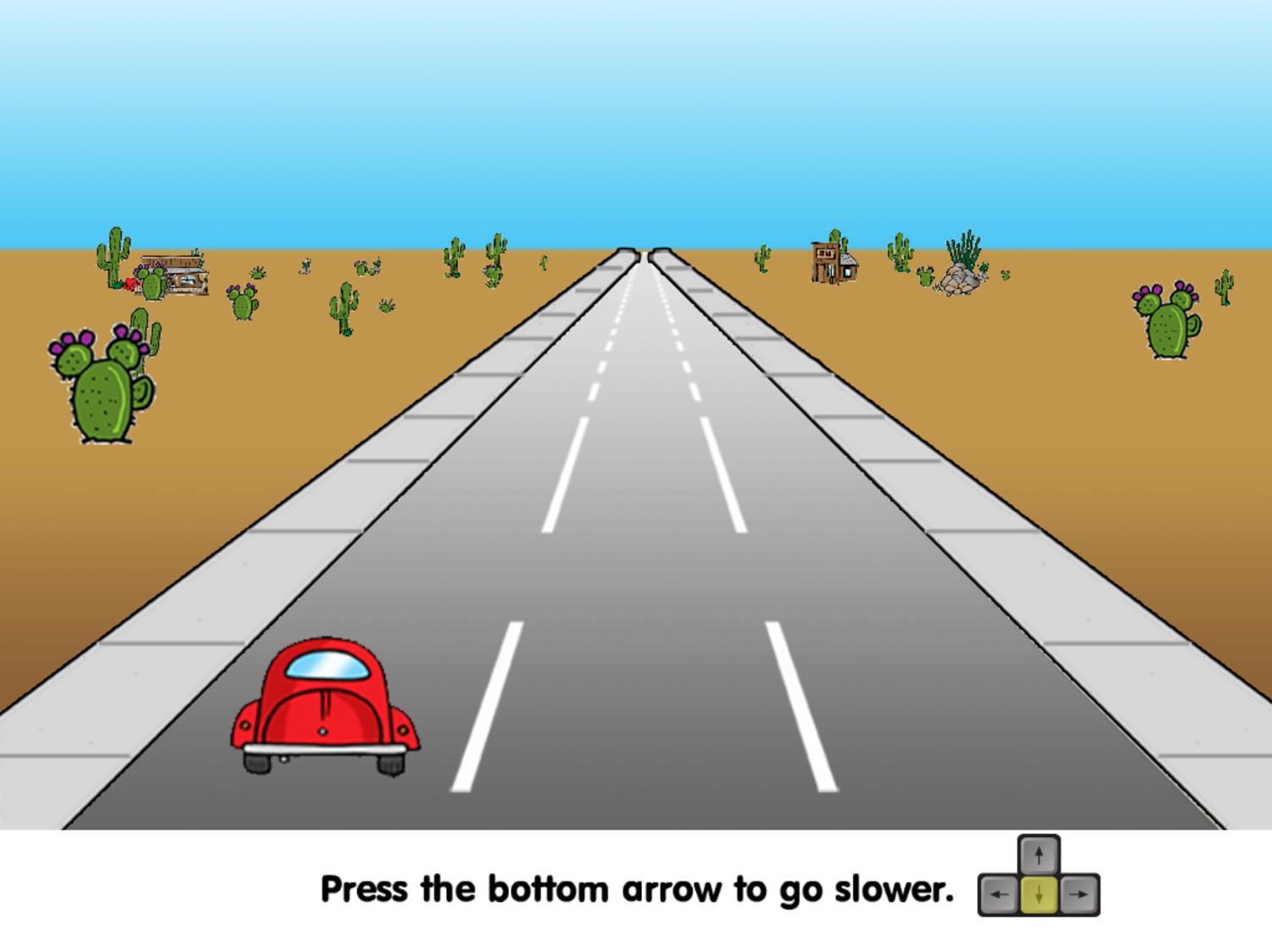 Road Rally Game Slowing Down Instructions Screenshot.