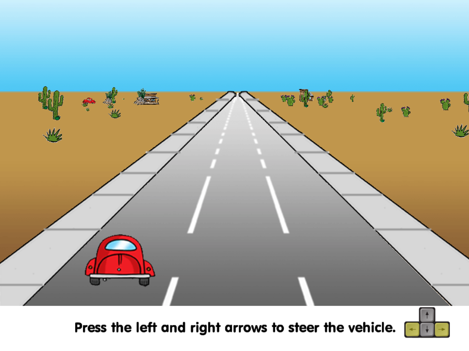 Road Rally Game Steering Instructions Screenshot.