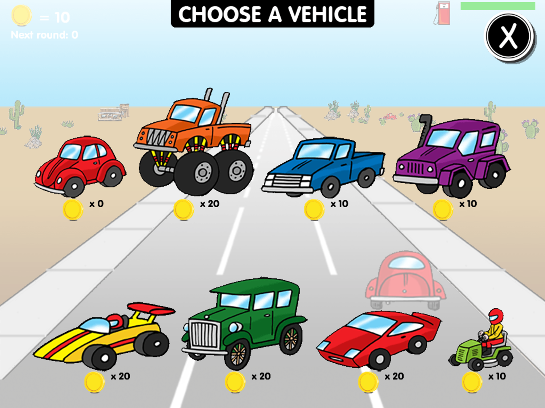 Road Rally Vehicles Screen Screenshot.