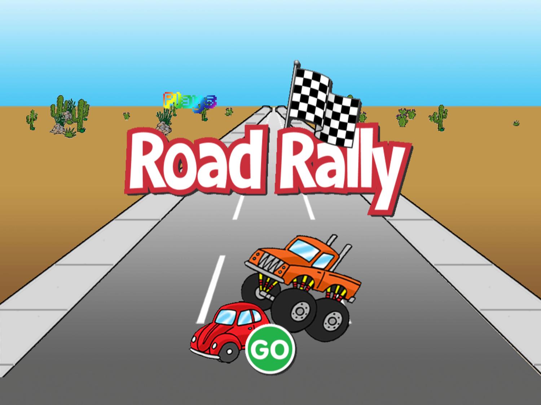 Road Rally Game Welcome Screen Screenshot.
