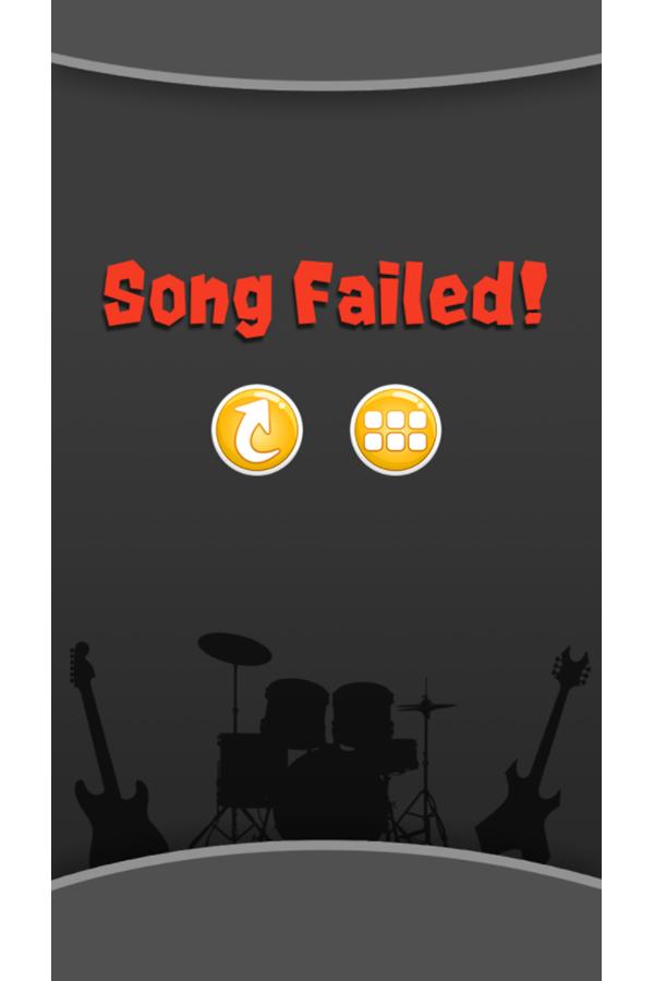 Rock Music Game Over Song Failed Screenshot.