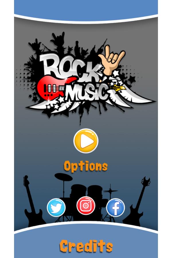Rock Music Welcome Screen Screenshot.