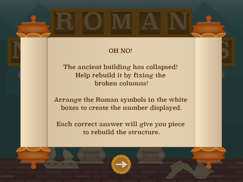 Roman Numerals Game Instructions Screenshot.