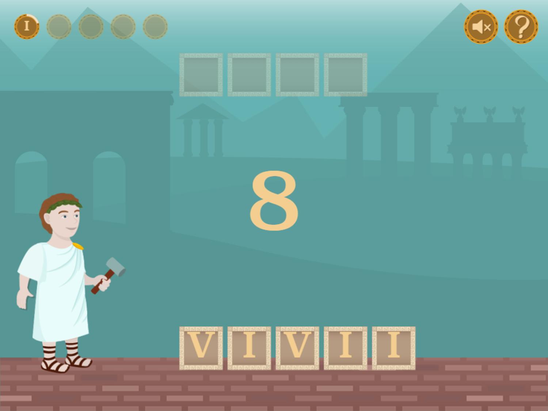 Roman Numerals Game Question Start Screenshot.