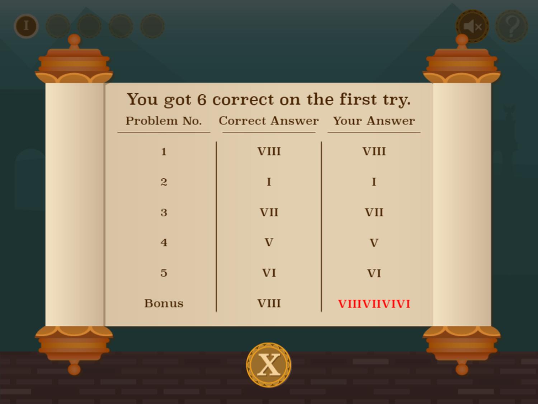 Roman Numerals Game Result Screenshot.