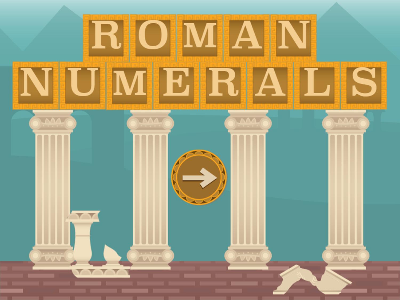 Roman Numerals Game Welcome Screen Screenshot.
