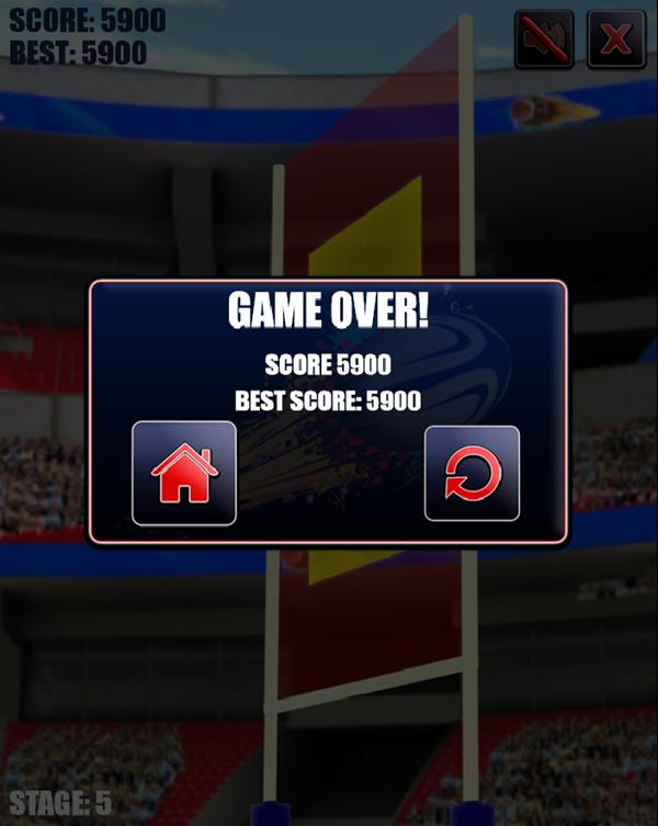 Rugby Kicks Game Over Screenshot.