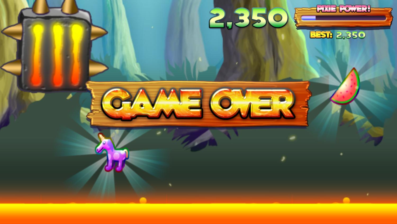 Run Pixie Run Game Over Screenshot.