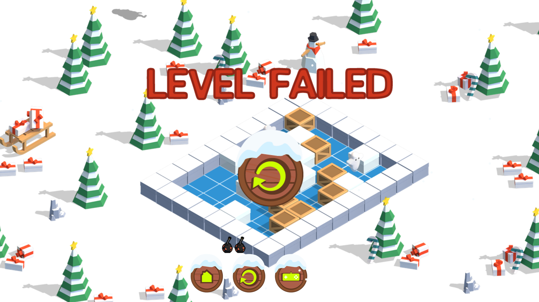 Santa Bomber 3D Level Failure Screenshot.