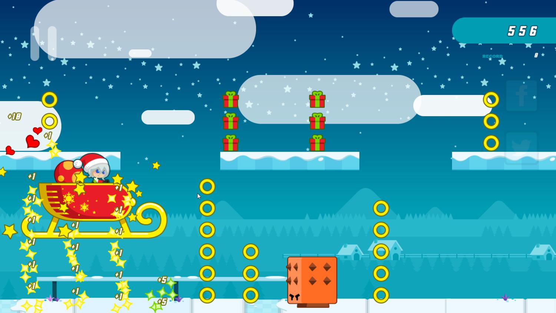 Santa Girl Runner Game Sled Screenshot.
