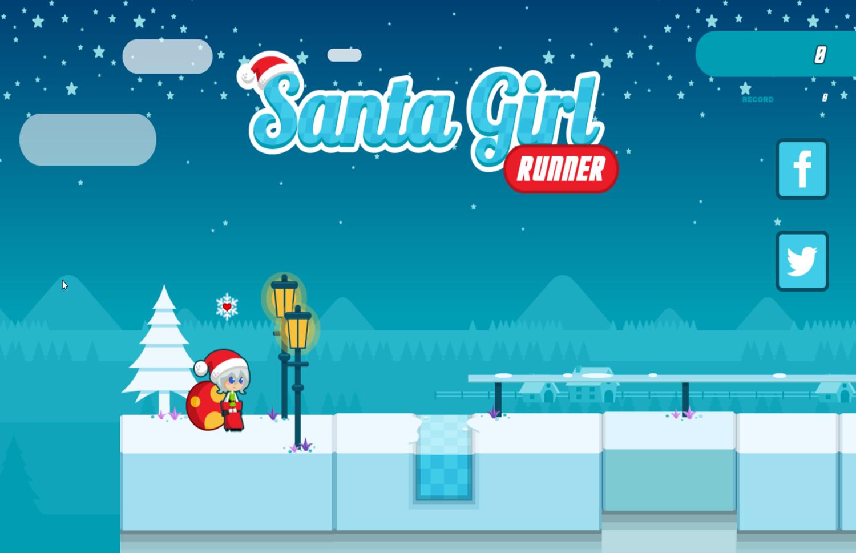 Santa Girl Runner Welcome Screen Screenshot.