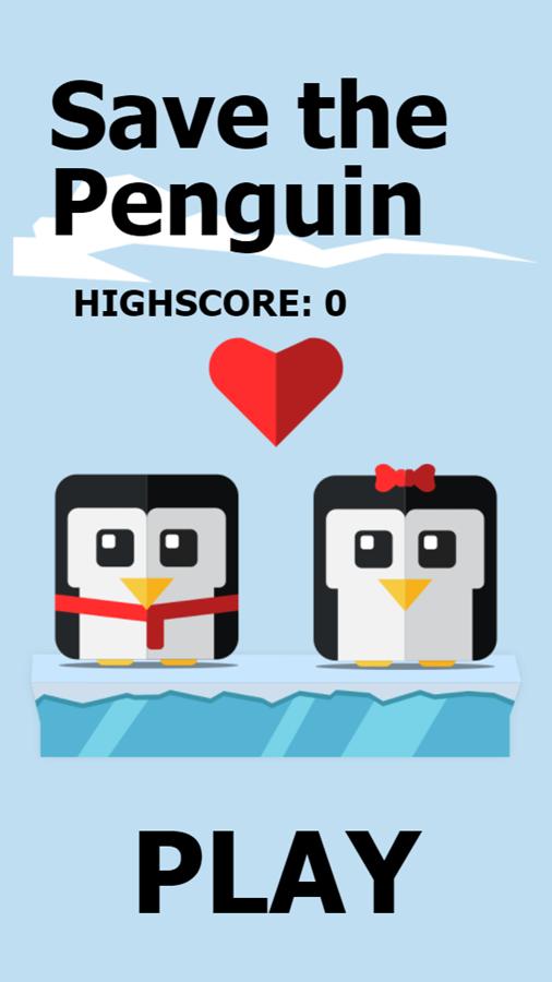 Save the Penguin Game Welcome Screen Screenshot.