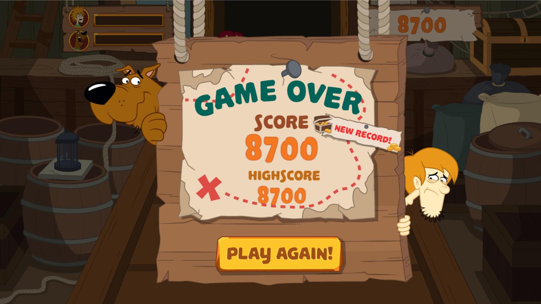 Scooby Doo Barrel of Treats Game Over Screenshot.