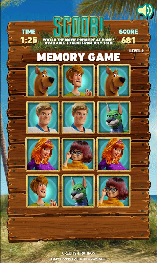 Scooby Doo Scoob Memory Game Complete Screenshot.