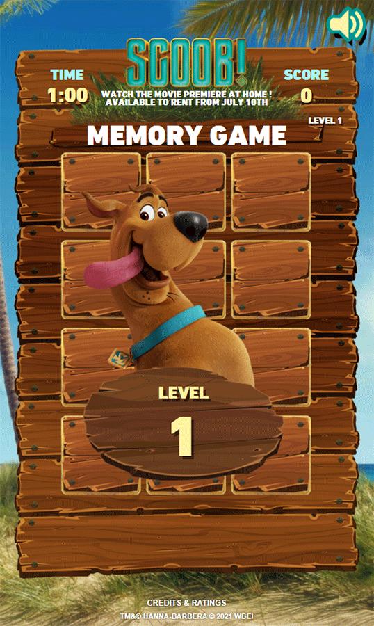 Scooby Doo Scoob Memory Game Level 1 Screenshot.