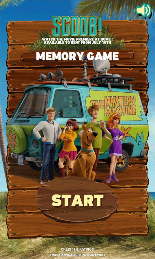 Scooby Doo Scoob Memory Game Welcome Screen Screenshot.