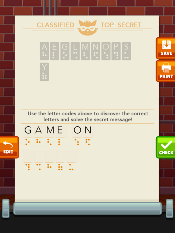 Secret Message Maker Game Decoding Screenshot.