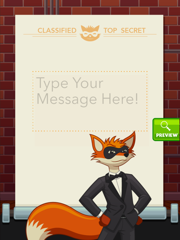 Secret Message Maker Game Type Your Message Screenshot.