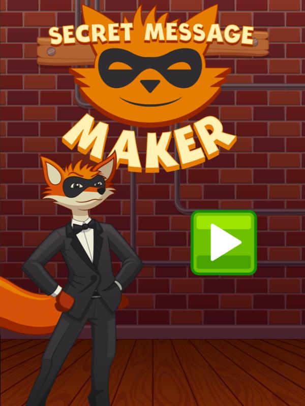 Secret Message Maker Game Welcome Screen Screenshot.
